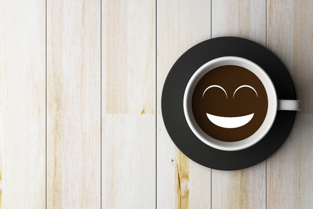 conception: Coffee cup on wooden and smile face conception Stock Photo