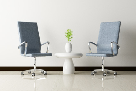Office chair and white wall interior decorated