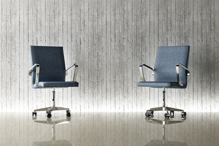 사무실 의자 및 콘크리트 벽 개념 스톡 콘텐츠