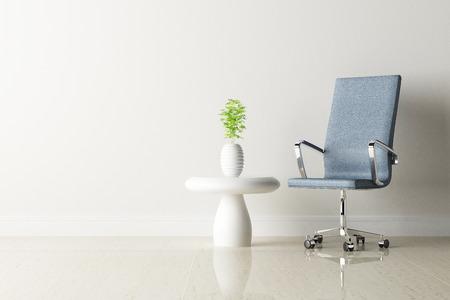 オフィスの椅子と白い壁のインテリア装飾 写真素材