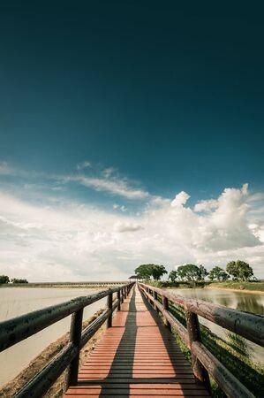 industrail: pontoon bridge with blue sky landscpae