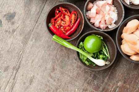wood table: top view of ingredient raw food on wood table Stock Photo