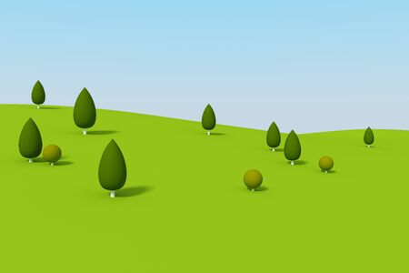green mountain: 3d of abstract tree and green mountain