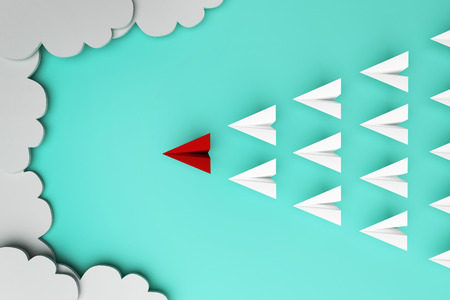 leading: Red paper plane of leading leadership concept