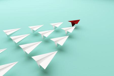 主要なリーダーシップの概念の赤い紙飛行機