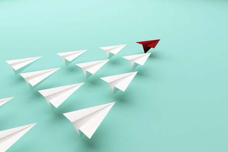 leadership abstract: Red paper plane of leading leadership concept
