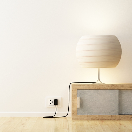 modern lamp: White lamp on cabinet decorate
