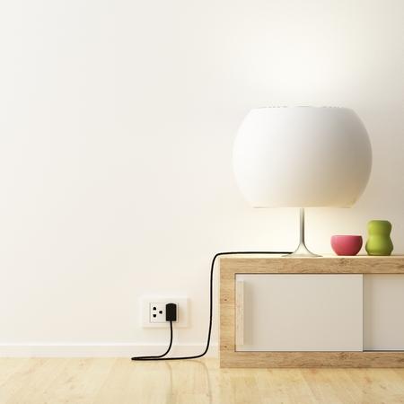 enchufe: Lámpara blanca y color florero en decorar mueble Foto de archivo