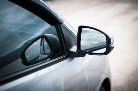 side of car door mirror glass Stock Photo