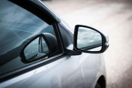 mirror: side of car door mirror glass Stock Photo