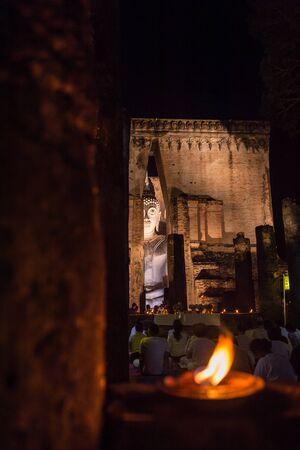 chum: Closeup of buddha sculpture of Wat Si Chum from Sukhothai, Thailand