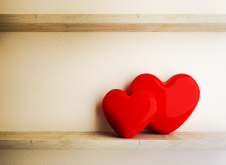 conception: Red Heart on Wood Shelf, Love Conception