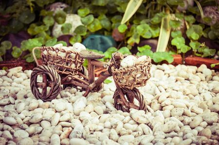 Small of Wood Bicycle With White Stone