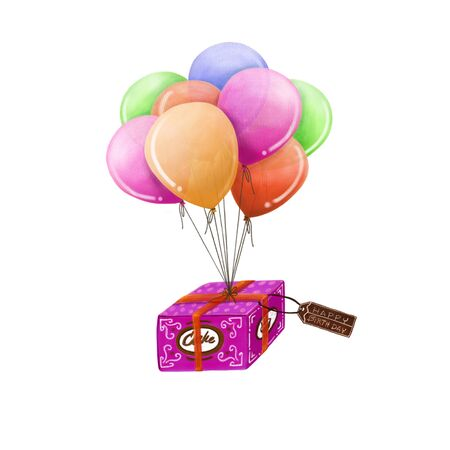 digital printing: Cake box and balloon, Happy Birthday Conception.