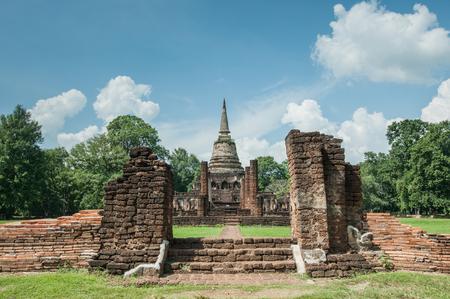 Old city of worship place landmarks, history park of Si-Satchanalai, Sukhothai province, Thailand.