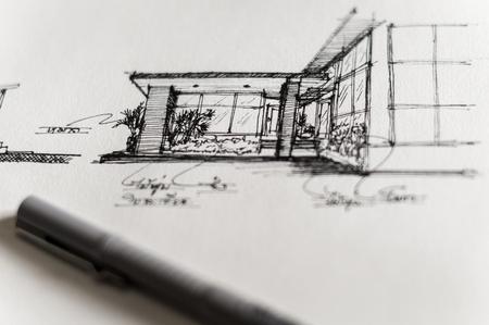 Closeup of sketch design for home building