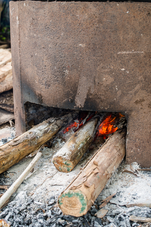 Culture of old style cooking used fire for make it food 스톡 콘텐츠