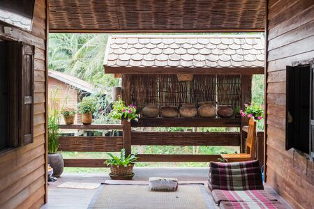Terrace design on house, asian style decorated