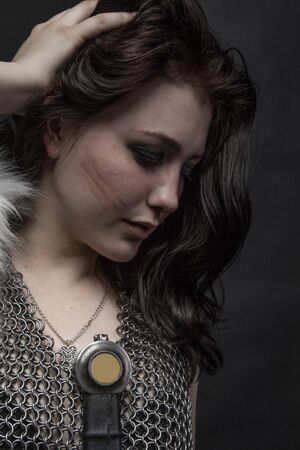girl knight in chain mail and with fur