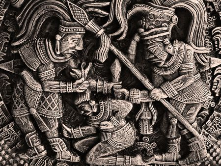 militant: gipseous picture with representing aztecs  - ancient militant mexican tribe