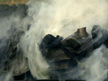 volumes: beautiful volumes of smoke smouldering coal
