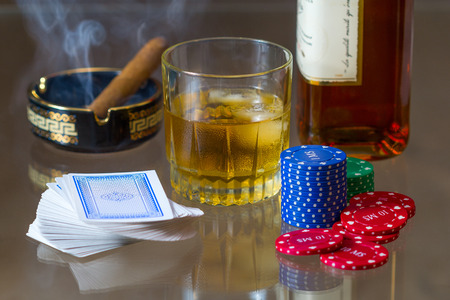 tokens: Cards, tokens, whiskey and cigar