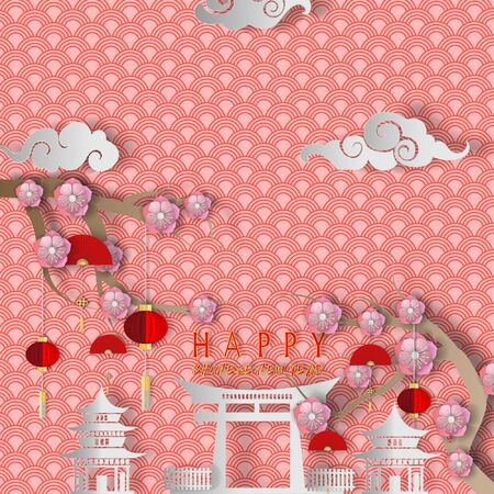 Vector Chinese New Year paper cutting background for greeting card design. Illustration