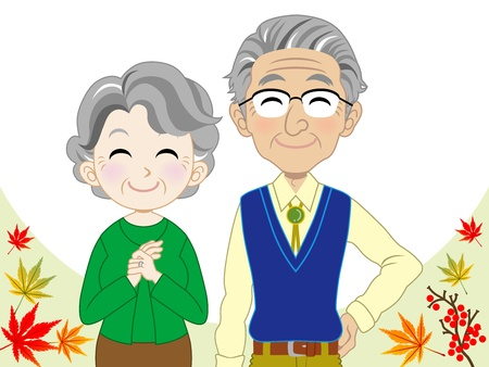 japanese maple: Elderly couple Illustration