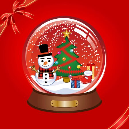 red snow globe Vector