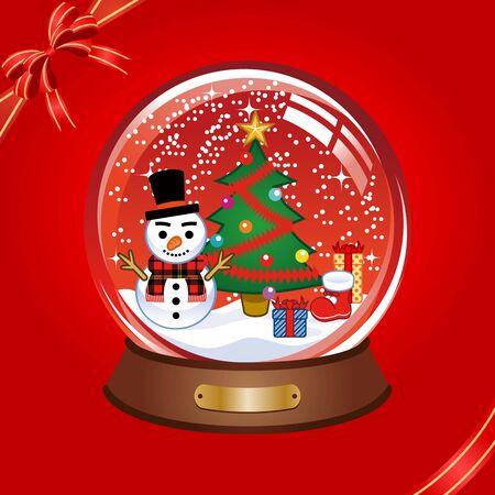 red snow globe Illustration