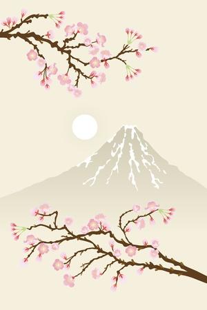 fleurs de cerisiers: cerisiers et Mt.Fuji