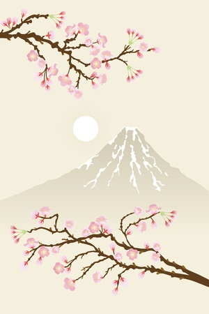 cherry blossoms and mt.fuji Stock Vector - 11217170