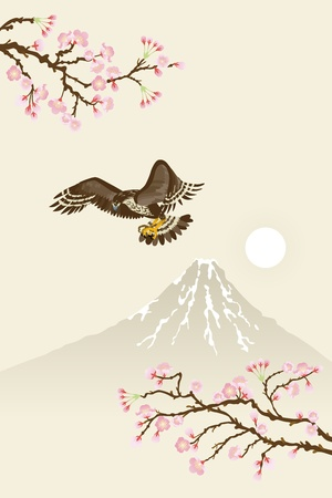 japanese painting about hawk Vector