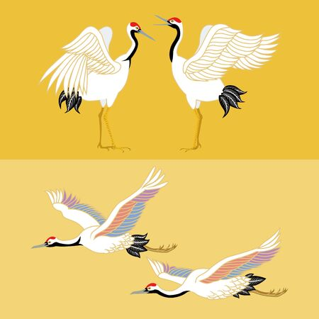japanese crane set Vector