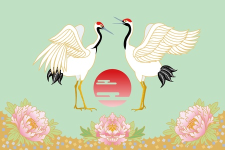 posted: japanese crane and sunrise Illustration