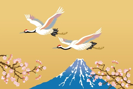 japanese crane and mt,fuji