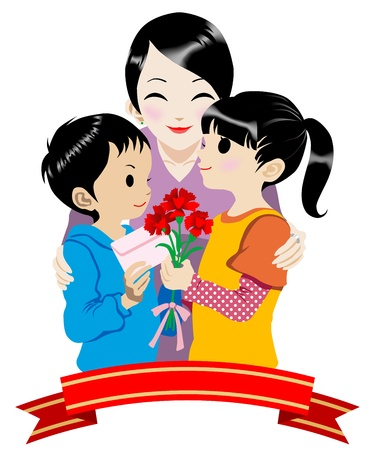 mom and son: Illustration of Mother and Children