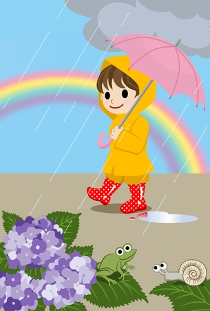 rain coat: Children on rainy days Illustration