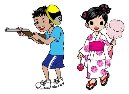 Japanese kids in fair Stock Vector - 11968440