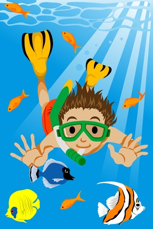 Boy dive into the sea Vector