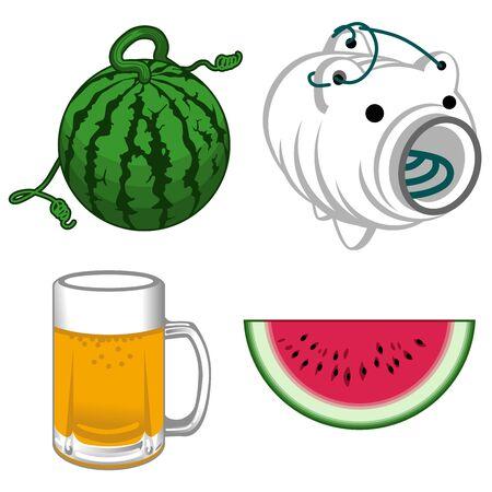 日本の夏の風物詩  イラスト・ベクター素材