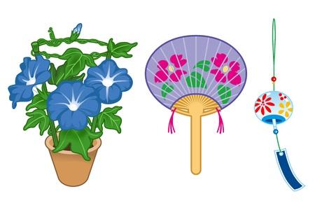 white fan: Summer goods in Japan Illustration