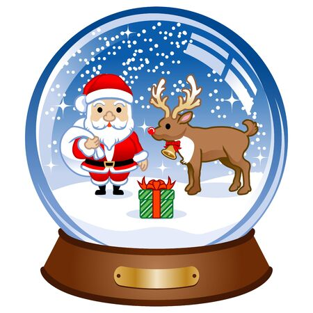 snow globe: Snow Globe with santa Illustration