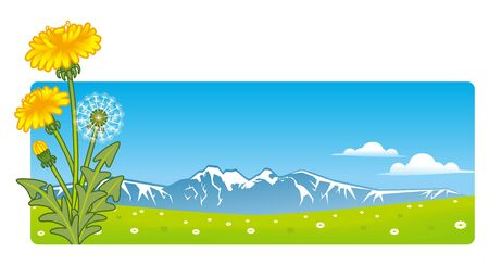 Dandelion and Mountain View Stock Vector - 12184032
