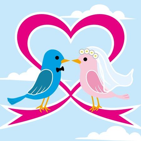 Little Bird wedding  イラスト・ベクター素材