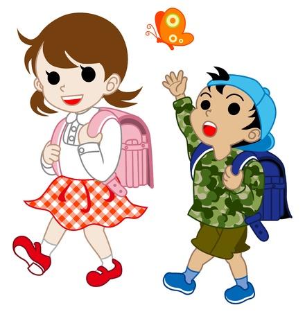 Japanese children walk Stock Vector - 12482481
