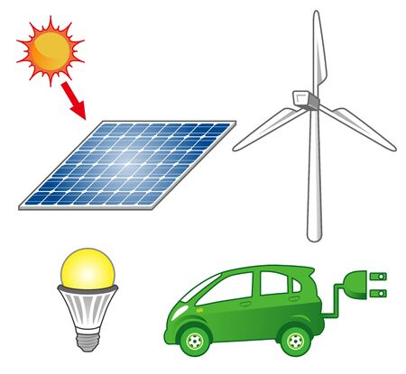 electric car: Clean energy items Illustration