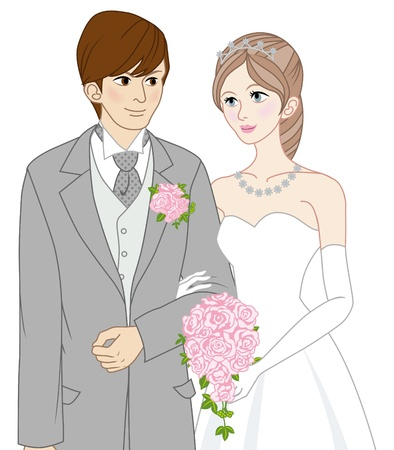 bride & groom Vector