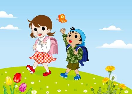 春の子供たちの散歩
