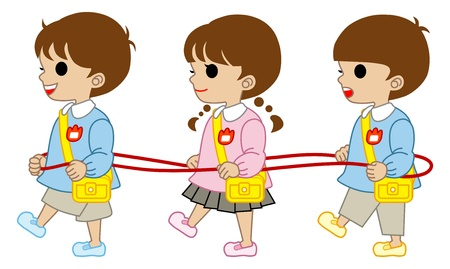 kindergartner Three kids Vector